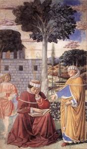 """Gozzoli, """"Saint Augustin entend le """"Tolle, lege"""""""""""