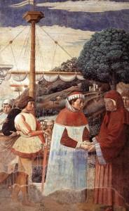 """Gozzoli, """"Saint Augustin : l'arrivée à Ostie"""""""