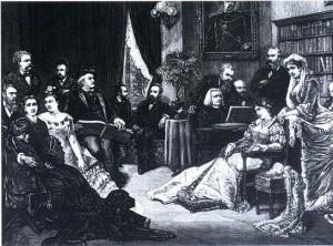 Le cercle de Liszt (au piano) et de Wagner (à gauche le regardant)