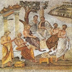 Mosaïque représentant l'Academie de Platon