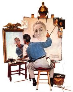 """Norman Rockwell, """"Triple Autoportrait"""""""