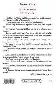 4e de couverture du Chant du Veilleur