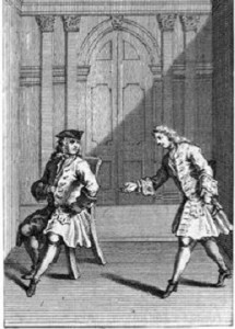 Gravure pour la Misanthrope de Molière : Alceste dérangé par Oronte