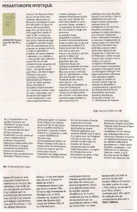Maxence Caron dans le Magazine des Livres, avril 2012