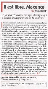 Service litteraire decembre 2012_Article Alfred Eibel sur Maxence Caron