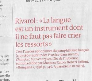 Avant-parution du Rivarol dans 'Le Monde' (4 mars 2016)