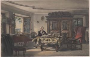 """Mozart travaillant à """"La Flûte enchantée"""" dans sa chambre, par Rudolf von Alt"""