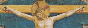 le Christ en Croix sourit à st Dominique, détail de Fra Angelico